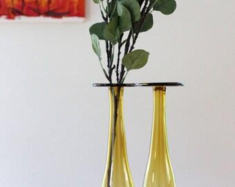 Vintage Pair of Amber Tall Vases