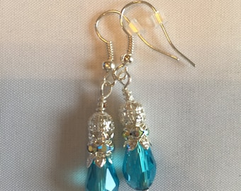 Elegant turquoise and silver dangle earrings