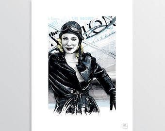 Cate, The Aviator-print digital illustration