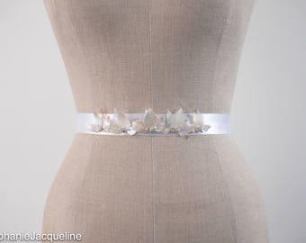 Sequin Leaves Hand Embellished Bridal Belt / Irridescent Vine Sash / Delicate Boho