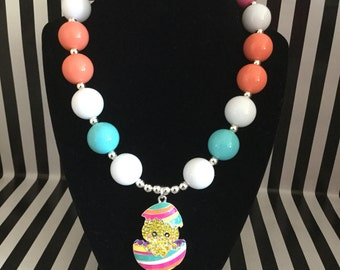 Easter Egg Chick Bubblegum Bead Necklace