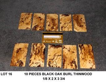 Lot 16 Black Oak Burl Super Thin Wood 10 Pieces Wooden Jewelry Blanks Wooden Box Inlays Thin Lumber Thin Oak Boards