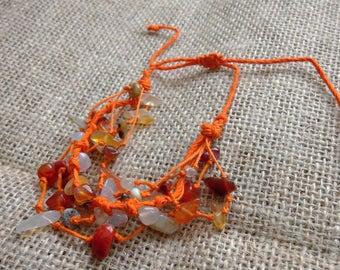 Orange multi-stone bracelet, boho, adjustable closure,
