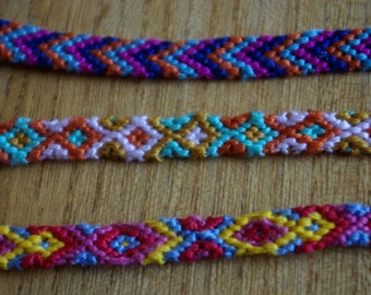 Set of three friendship bracelets, braided woven brazilian