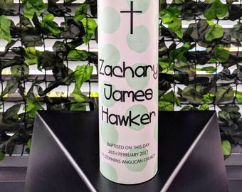 Christening Candle, Baptism Candle, Naming Day Candle, Personalised Candle, Baptismal Candle, Green Spots, Religious Candle (Zac)