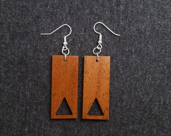 Rectangle and triangle wood earrings, mahogany and silver 0064