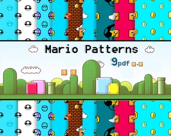 OFFER 80% Off SALE Mario Bros Digital Paper Pack papercraft