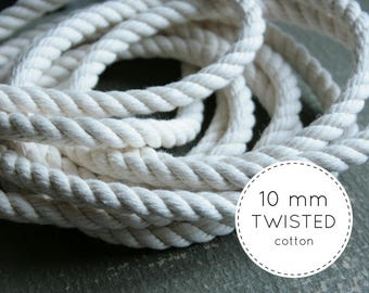 10mm Cotton Rope - Twisted Cotton Rope, Organic Cotton Rope - Twisted Cotton Cord, Twisted Rope, Cotton Cord - DIY Supplies, Nautical Decor