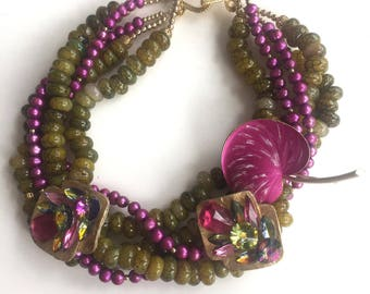 Vintage Hot Pink Ginkgo Leaf Necklace