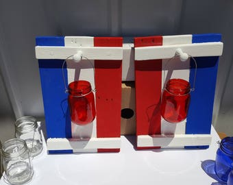 Red White and Blue Candle Holders