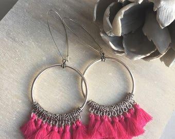 REF 0030 - Bohemian earrings ethnic fuchsia pink