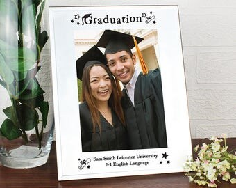 Personalised Mirrored Graduation Photo Frame Congratulations Hons Masters Degree Gifts Ideas For College University Memory Memories