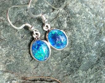 Australian opal drop earrings set in Italian silver