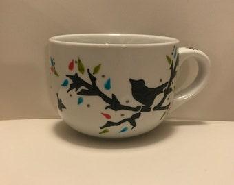 Cup of procelain birds (coffee cup bird)