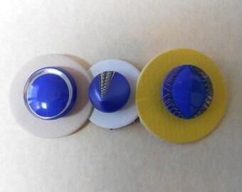 Vintage Art Deco Blue Glass Buttons