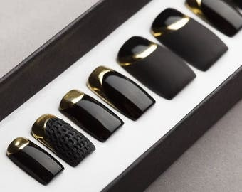 Black Matte and Gloss Press on Nails with Gold and Texture   Nail Art   Fake Nails   False Nails   Glue On Nails   Acrylic Nails