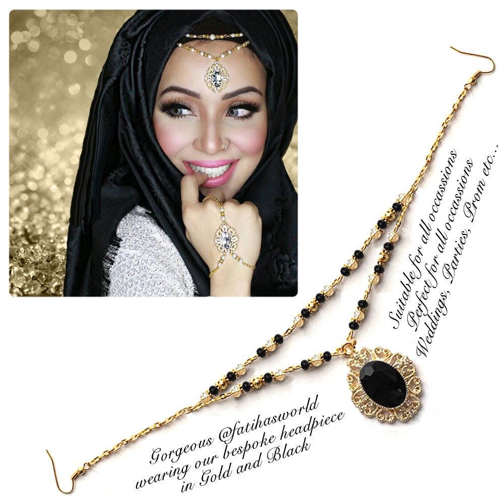 Gold silver black Crystal Kundan Indian Jewelry Matha Patti Tikka ...