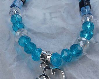 "Crystal Beaded Sky Blue 16"" Necklace #4"