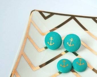 Mommy and Me Teal Anchor Fabric Button Earrings Steel Studs with Butterfly Back