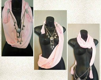 PINK Scarf Wrap Necklace - Scarves - Wrap - Handmade - Fashion - Pretty in Pink
