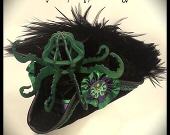 Octopus Mini Tricorn Velvet Hat. Steampunk,  Pirate Ladies Hat.  Ready to ship Now!