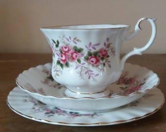 Royal Albert lavender rose, tea cup trio, vintage tea cup, bone china, royal albert  trio, rose design