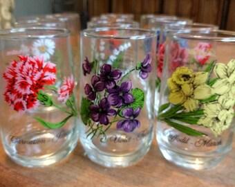 Vintage Brockway Flower of the Month Complete Set of 12