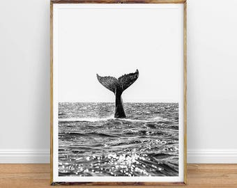Whale Digital Print, Ocean Coastal Decor, Beach Print, Whale Black and White Photography Wall Art, Ocean Water, Printable Instant Download