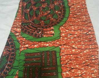 Orange and Green circle and Square motif Wax Print/African Print/Ankara (6 yards)