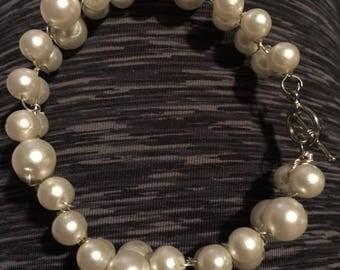 Faux Pearl Bracelet - Cuff Bracelet - Gift