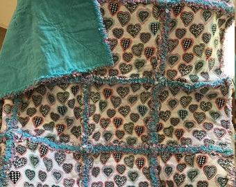 Children's Rag Quilt Lap Quilt Hearts Turquoise Pink