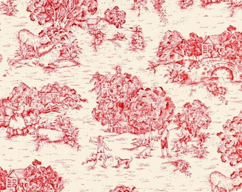 Azalea and Ivory (Pink and Cream) Toile Fabric by Premier Prints no.114