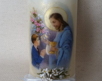 "First Holy Communion Candle, 6"" x 2.5""- boy -Blue"