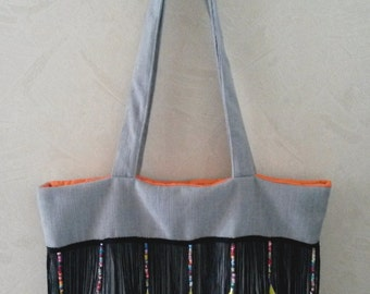 """Bag Tote """"Beads and feathers"""" 46 x 32 cm"""