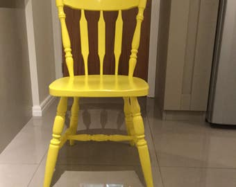 Yellow Vintage solid wood chair