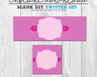 diy pink twitter set, premade pink polka dots social media twitter cover image pack, instant download twitter header banner set pink diy