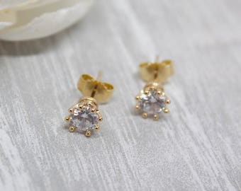 Small earrings yellow gold cubic zirconia wedding jewelry bridal Bridal jewelry