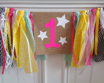 Twinkle twinkle little star high chair banner/pink,yellow,mint,white lace,grey/fabric banner/ribbon accents/photo prop/birthday