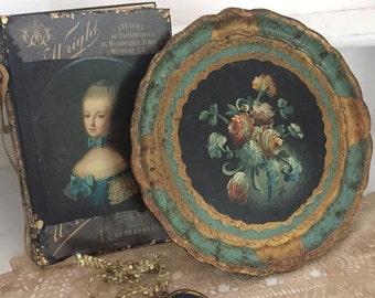 VintageTole,french ,shabby chic tray.