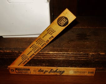1961 Sears Roebuck & Co J.C. Higgins Wisconsin Fish Fishing Laws and Limits 18 Inch Vintage Wood Folding Ruler