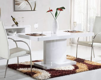Courbe 1.6m High Gloss Dining Table, White