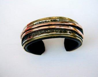 Bracelet brass copper nickel Silver hammered leather interior