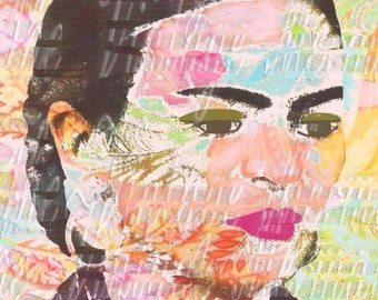 Abstract Frida Kahlo Crafts Fabric Art Block Mexican Artist Altered Art Fk188