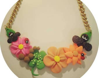 Necklace flowers and bugs