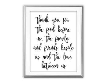 SALE-Thank You For The Food Before Us- Modern Art- Digital Print- Wall Art- Digital Designs- Gallery Wall-Art Prints- Typography