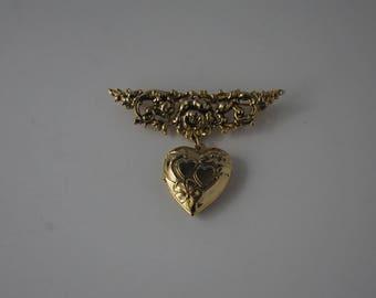Heart Locket Brooch Pin