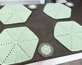 Crochet Set of coasters - kitchen decorations, accessories