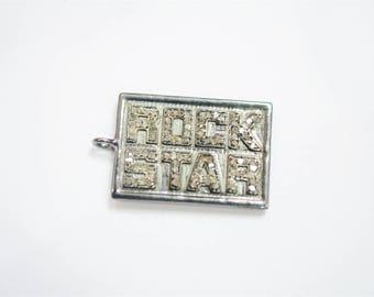 Genuine Diamond Pave Designer ROCK STAR Pendant Jewelry Sterling Silver 925 Handmade Fashion Charms Jewelry