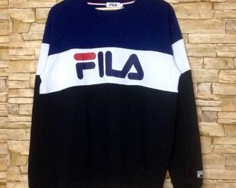 Vintage FILA big logo spellout  Sweatshirt Jumper crewneck  90s casual swag urban fashion Streetwear