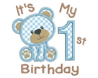 1st Birthday Applique Machine Embroidery Design, Teddy Bear First Birthday Embroidery Design, 4x4, 5x7, 6x10, INSTANT DOWNLOAD, No: FA510-14